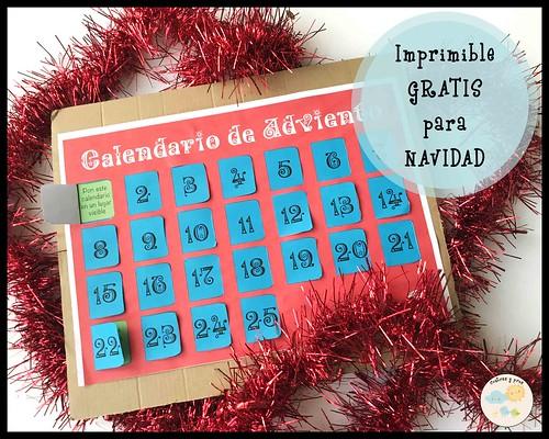 Calendario de Adviendo. Imprimible gratis de Navidad