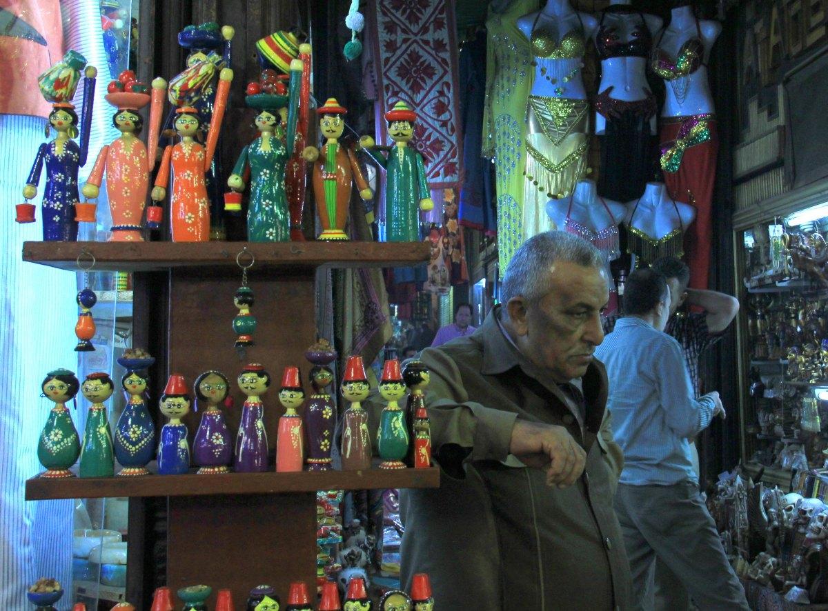 a shop selling souvenir at khan el khalili market in cairo