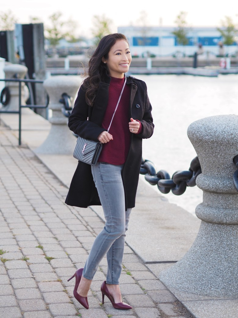 6ff50feb8bc Chevron Large Envelope Cross Body // SAINT LAURENT • Fit & Flare Coat – sz  2 // ASOS • Skinny Ankle Jeans – sz 24 // JOE'S JEANS • Cable Knit Sweater  ...