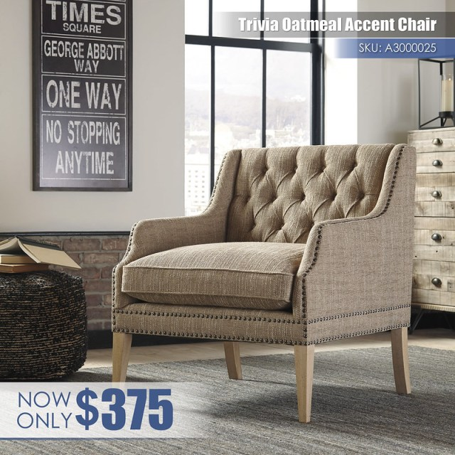 A3000025 - Trivia Oatmeal Accent Chair $375