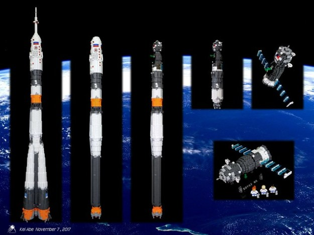 Minifig-scale LEGO Soyuz-1-6 Soyuz-FG