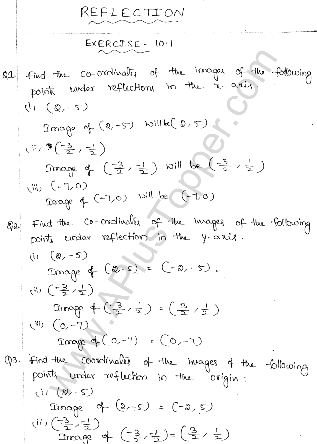 ml-aggarwal-icse-solutions-for-class-10-maths-chapter-10-reflection-1