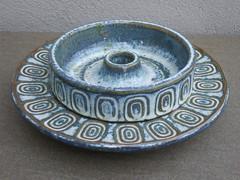 Vintage Soholm Stentoj Bornholm Made in Denmark Ceramic Candle Holder & Tray Mid Century Modern Design