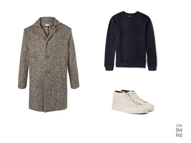 Look masculino casual con abrigo, sweater azul y sneakers blancas