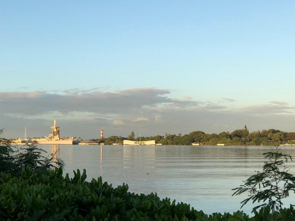 View of the USS Arizona and Missouri