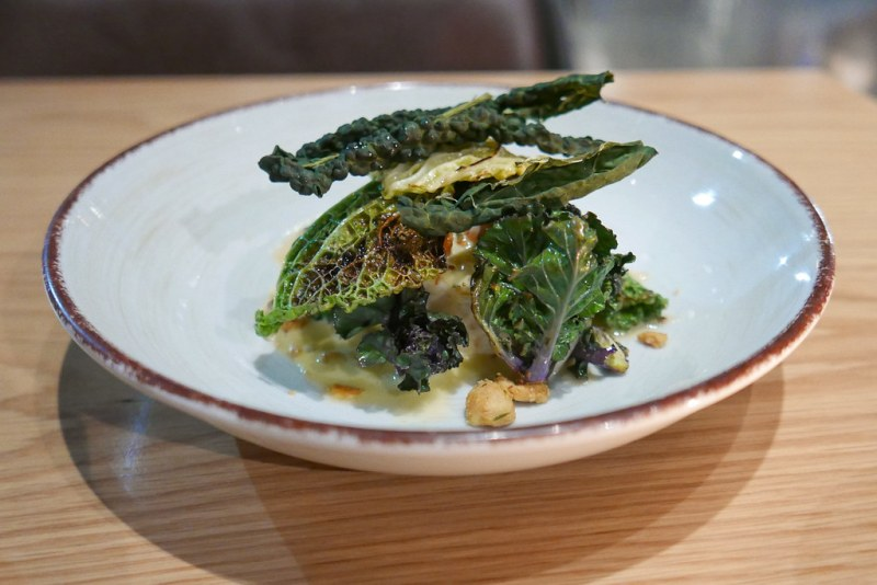 Poached Cod, Savoy Cabbage, Dried Black Kale, Flower Sprouts, Smoked Hollandaise, Hazelnuts ($20)
