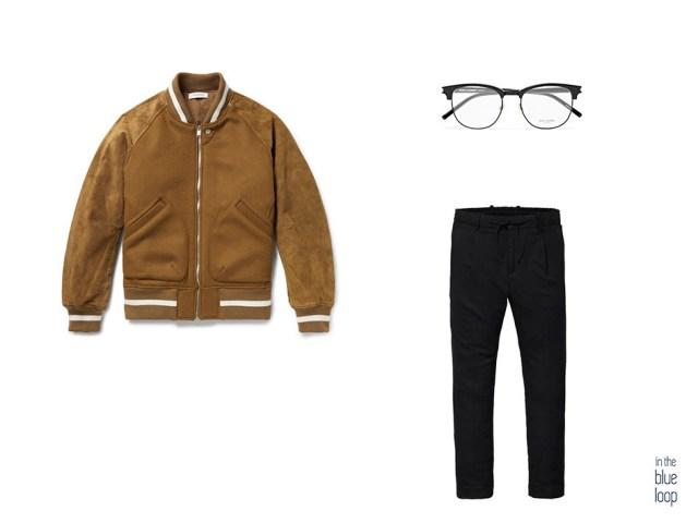 Look masculino casual con pantalones, cazadora de ante y gafas estilo vintage para hombre