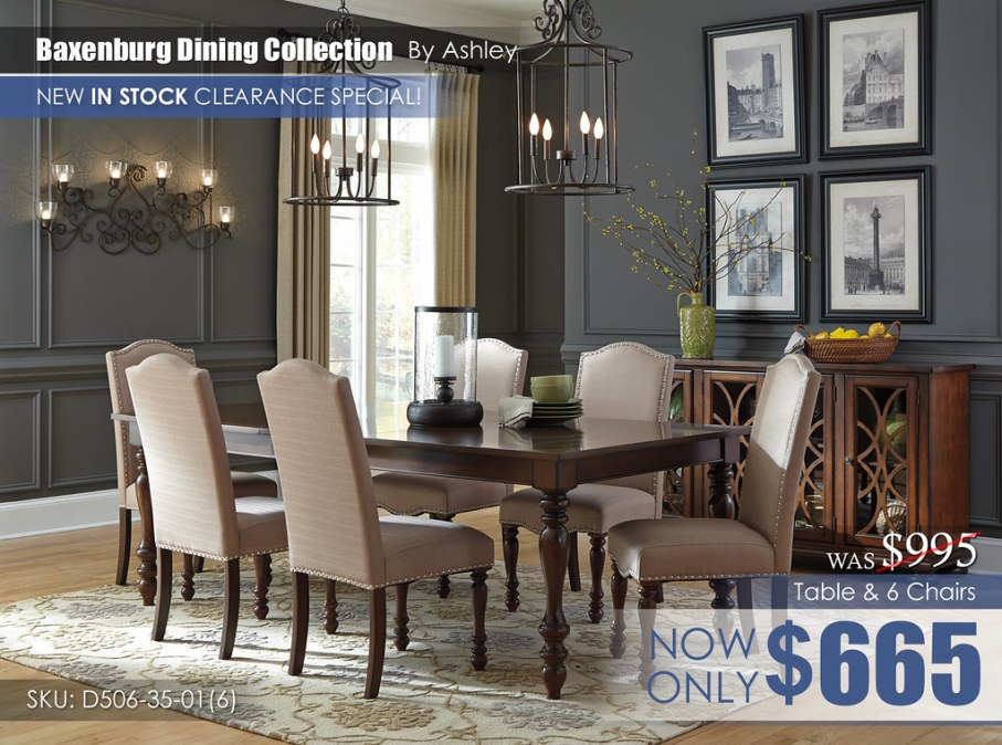 Baxenburg Dining Set & 6 Chairs D506