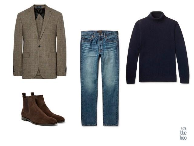 Look masculino smart-casual con jeans, botas chelsea, blazer de tweed y jersey de cuello vuelto