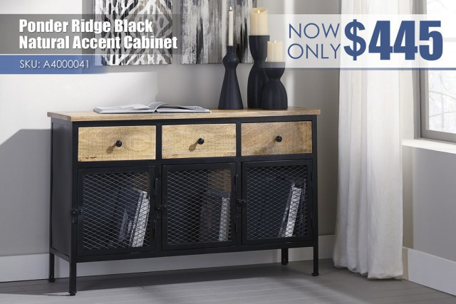 A4000041 - Ponder Ridge Black & Natural Accent Cabinet $445