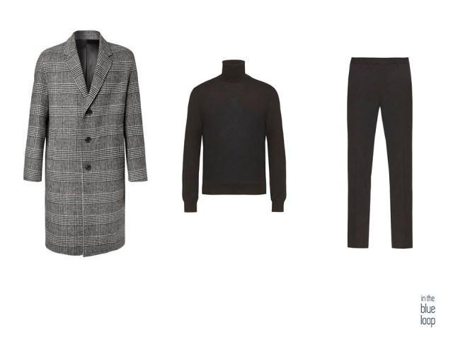 Look masculino smart-casual con abrigo de cuadros, jersey de cuello vuelto y pantalón de vestir negro