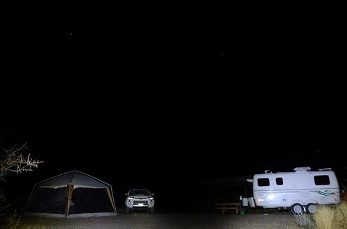 Gila Box Riverview Campground night camp