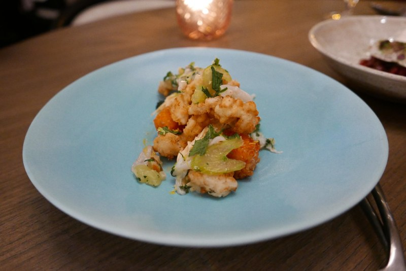 Fried Razor Clams, crispy sweet potatoes from Beth Eccles, celery root remoulade, parmesan, mint ($16)