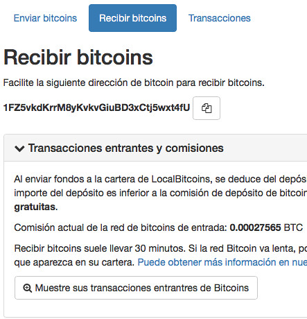 Depositos en LocalBitcoins