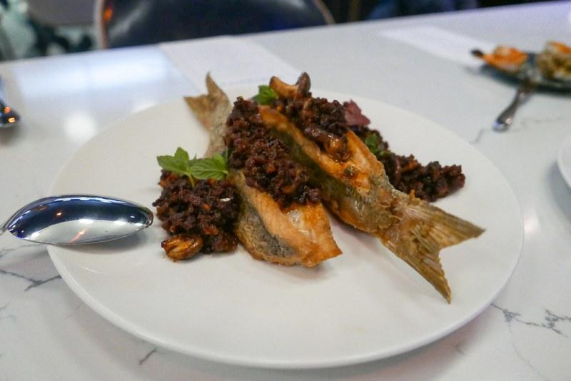 Yellowtail Snapper, XO Sauce, Thai Basil, Baby Shitake Mushrooms
