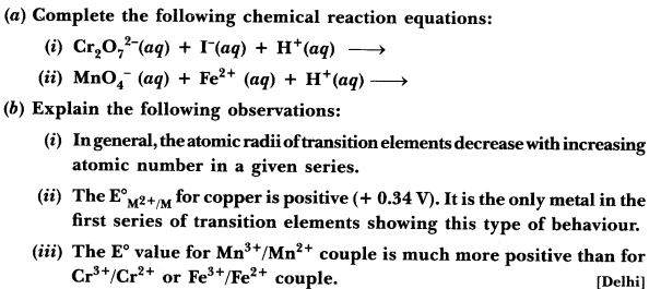 Important Questions for CBSE Class 12 Chemistry - The d- and f