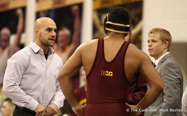 Coach Luke Becker, Bobby Steveson, and Coach Zach Sanders. 171112AMK0196