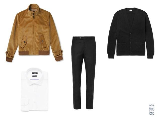 Bomber de pana en look masculino smart-casual con pantalón de vestir, cardigan y camisa blanca