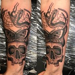 On my bro Richy at Far Beyond, Luton. Thankyou! #skull #butterfly #snake #blackandgreytattoo