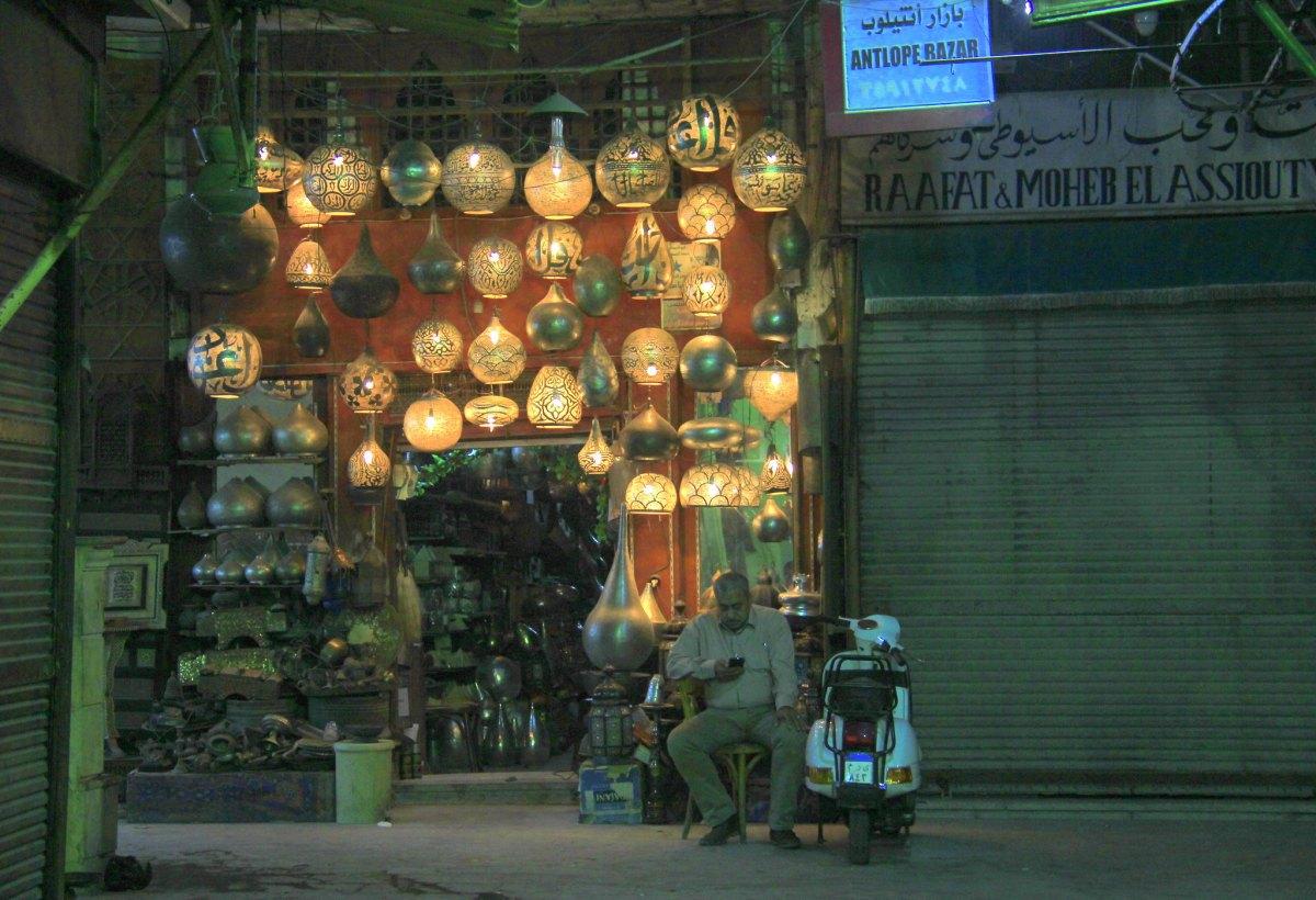 A shop selling lamps at khan el khalili