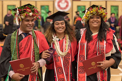 UH Hilo graduates celebrate at the campus' commencement ceremony on December 16, 2017.  Photo by Bob Douglas/UH Hilo Stories