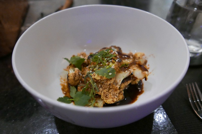BAR MENU A LA CARTE: Kung Pao Cauliflower, Lime, Peanuts, Cilantro, Mint ($10)