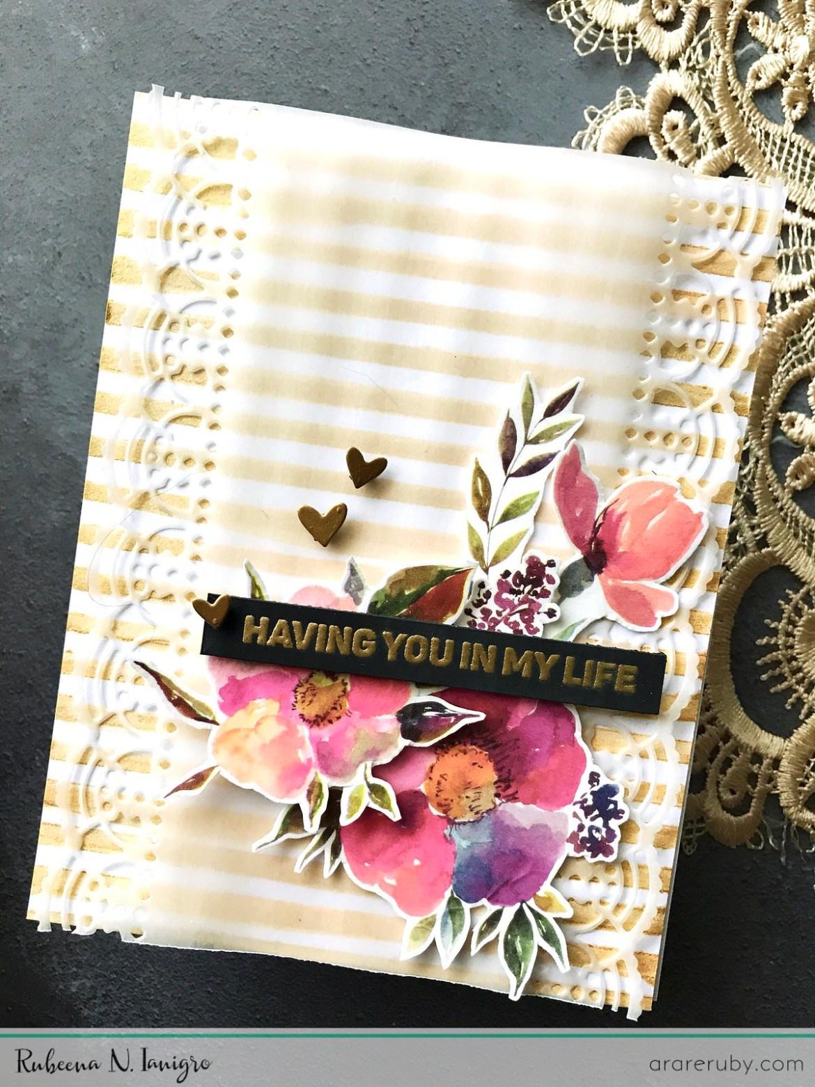 Altenew - Antique Gold Metallic Ink Spray - Classy Stripes Stencil - Floral Flurries Washi Tape - Rubeena Ianigro
