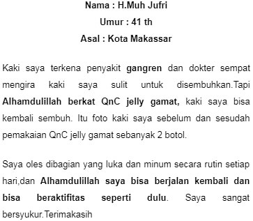 bukti nyata sembuh dengan QnC Jelly Gamat