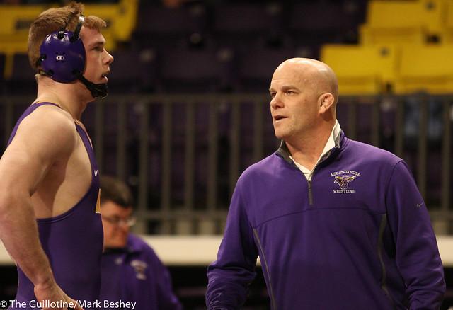 Matt Blome and Minnesota State Mankato head coach Jim Makovsky - 180125amk0172
