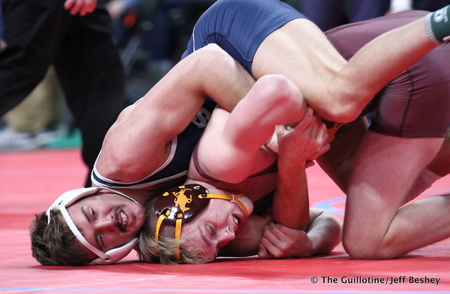 Semifinal - Cole Kirpach (St Francis) 43-5 won by decision over Grant Parrish (Forest Lake) 46-8 (Dec 7-2). 180303AJF0481