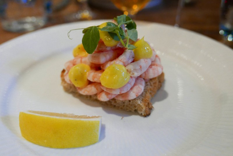 Shrimp, toast, mayonaise, lemon smørrebrød ($26)