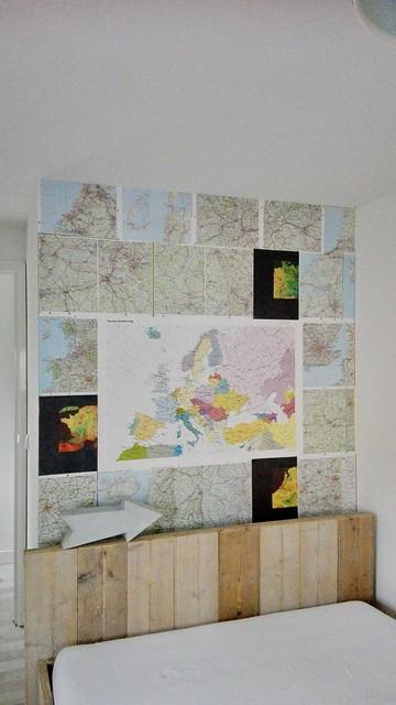 Wereldkaart steigerhouten bed