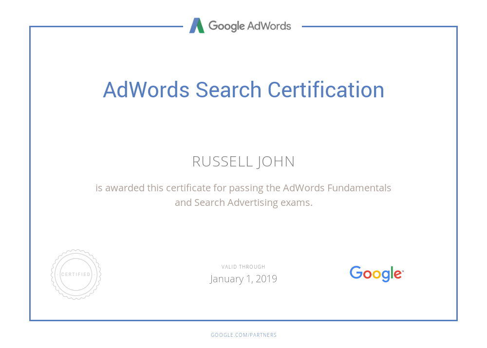 Google AdWords Certification - Russell\'s Cyber Journal
