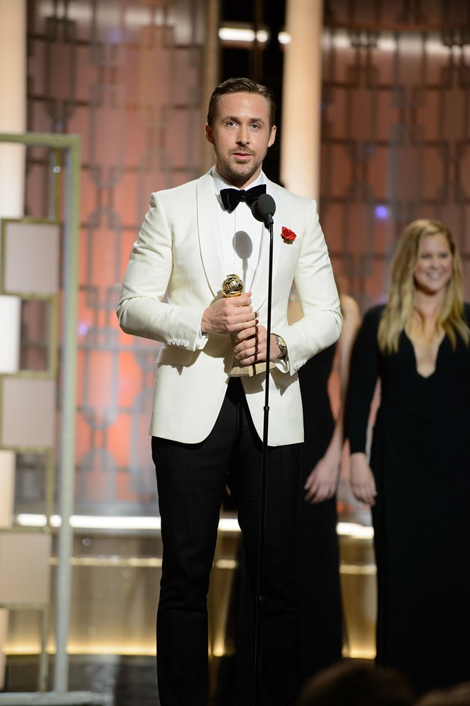 "Ryan Gosling accepts the Golden Globe Award for BEST PERFORMANCE BY AN ACTOR IN A MOTION PICTURE – COMEDY OR MUSICAL for his role in ""La La Land"" at the 74th Annual Golden Globe Awards at the Beverly Hilton in Beverly Hills, CA on Sunday, January 8, 2017."