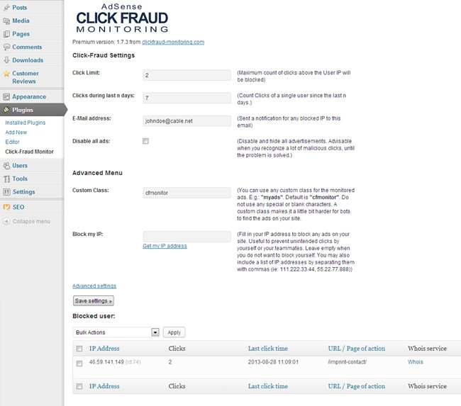 Click-Fraud Monitoring v.2.0.5 Protects your AdSense websmartz