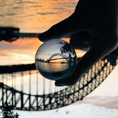 #magic #happens at #sunset #glass #ball #reflection #harbourbridge @sydney @visitnsw @australia #ilovesydney #sydney #summer #newsouthwales #wanderlust #travel #australia #seeaustralia #sydneyfolk #australiagram #sydneytravel #travel #guardiantravelsnaps
