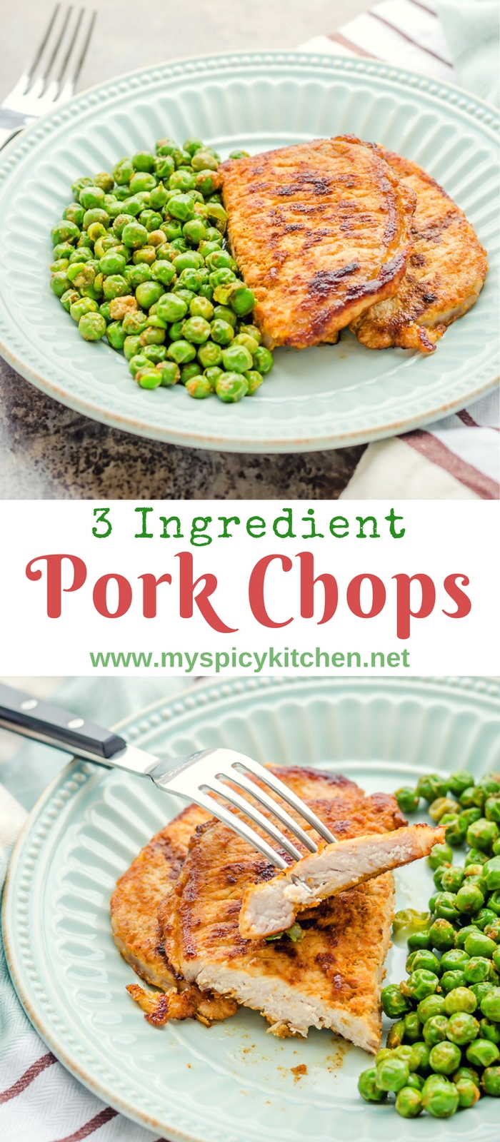 3 Ingredient pork chops served with English peas