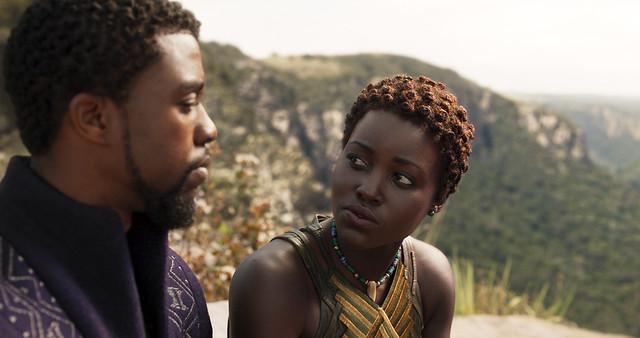 Marvel Studios' BLACK PANTHER..L to R: T'Challa/Black Panther (Chadwick Boseman) and Nakia (Lupita Nyong'o)..Ph: Film Frame..©Marvel Studios 2018