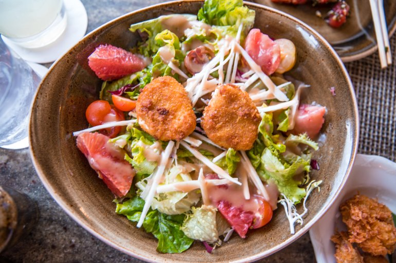 house without a key Breaded Puna Goat Cheese Salad