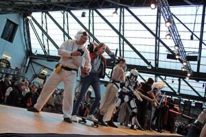Sci-fi catwalk participants