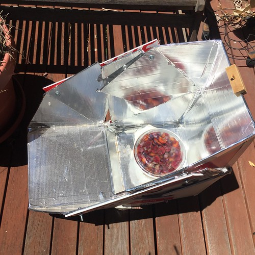 Solar cooker with plums in casserole