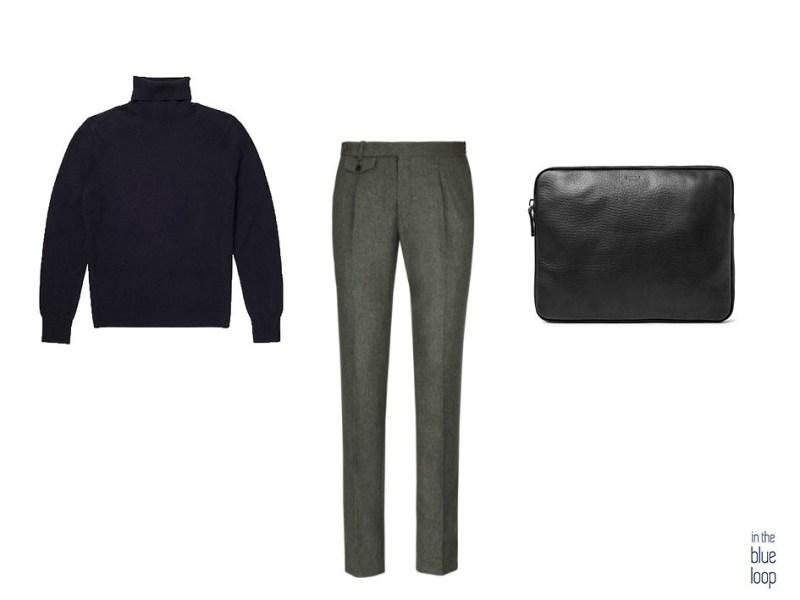 Mâle élégant et décontracté avec pull à col roulé, pantalon de costume et porte-documents