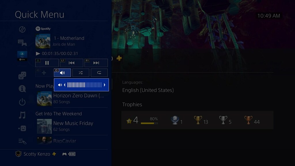PS4 System Software Update 5.50: Quick Menu - Music shortcut