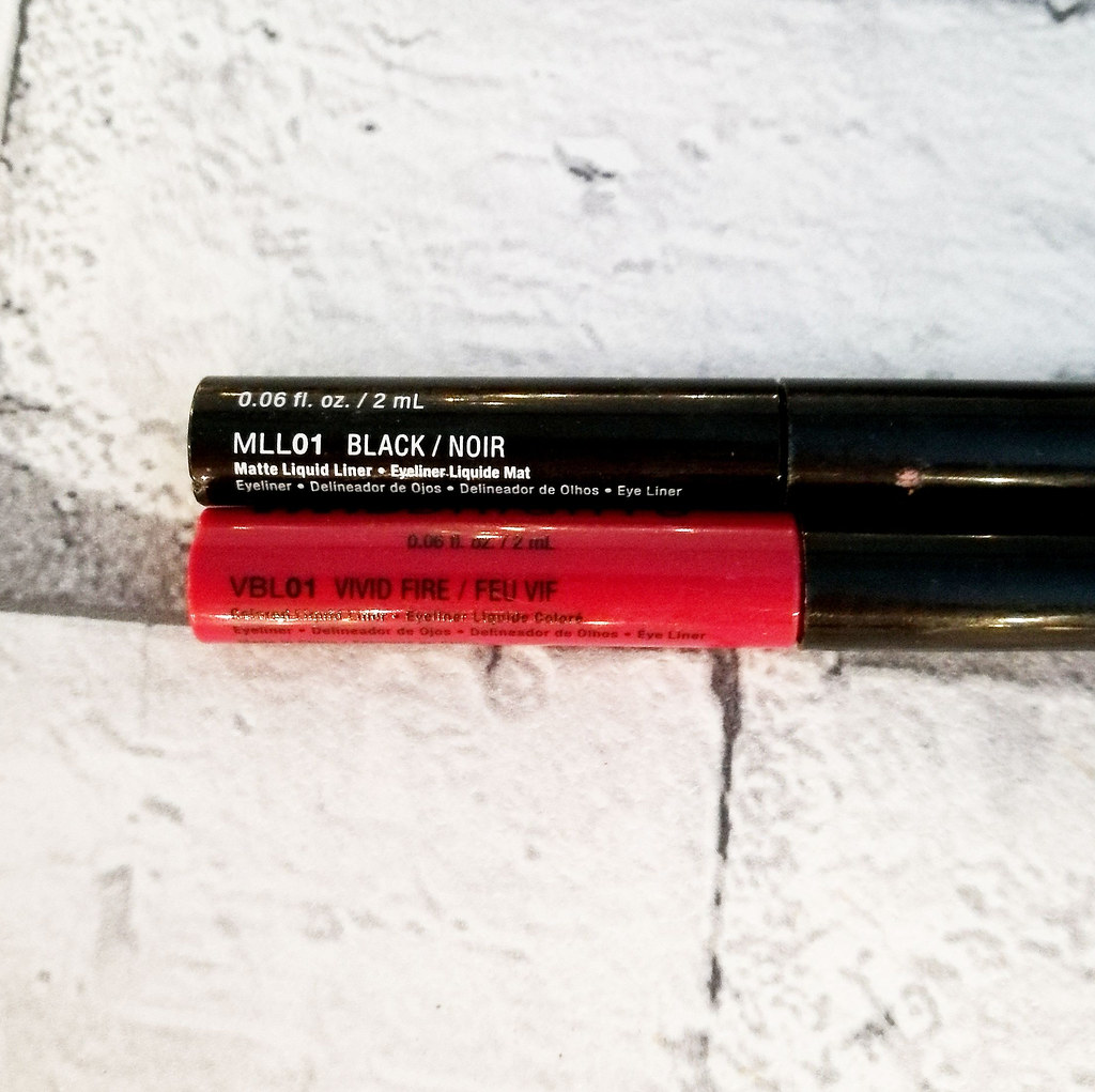 Nyx Vinyl Matte Liner in Black and Vivid Brights Liner in Fire