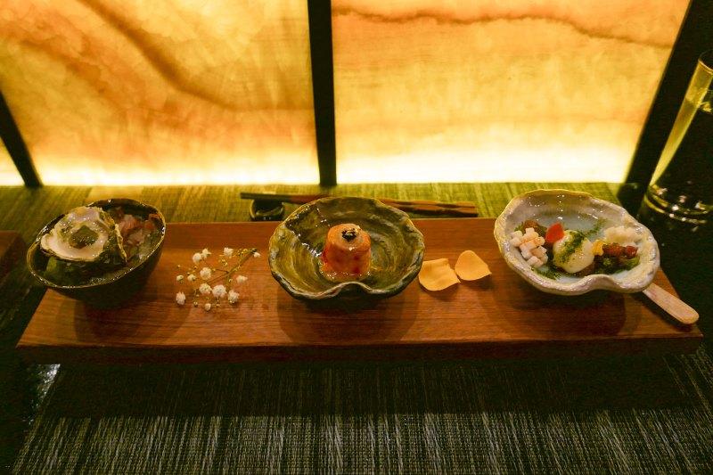 1) Kumamoto, Japanese Migonette, Shiso 2) Kani King Crab, Kobe Butter, Uni Miso, Pickled Onion, Black Tobiko 3) Tuna, Quail Egg, Yamaimo, Wasabi Tobiko