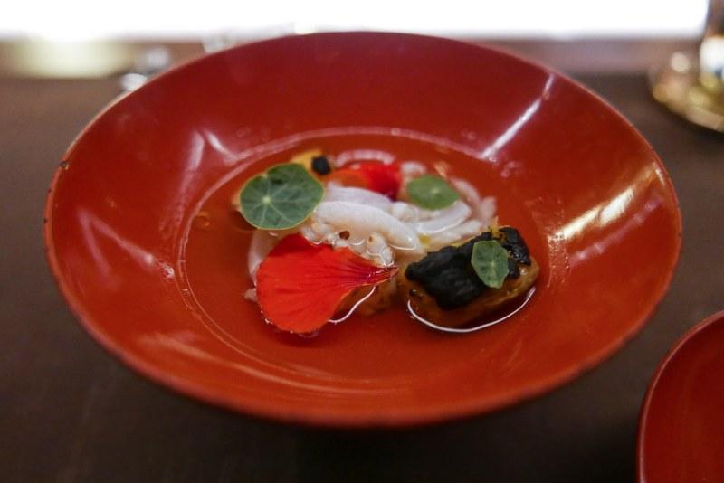 Yari Ika, Tomato Dashi, Nasturtium