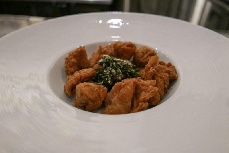 BAR MENU A LA CARTE:  Fried Jidori Chicken, Honey, Kale Slaw, Pepitas ($14)