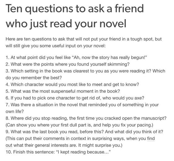 10 questions to ask a friend who has read your novel