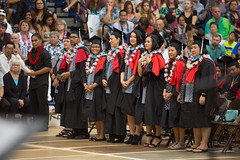 UH Hilo's MEd candidates at the campus' commencement ceremony on December 16, 2017.  Photo by Everette Ganir