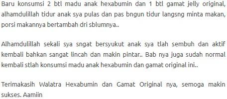 testimoni walatra hexabumin